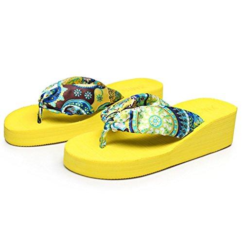 SHANGXIAN Plage des femmes flip-flops Sandales compensées yellow