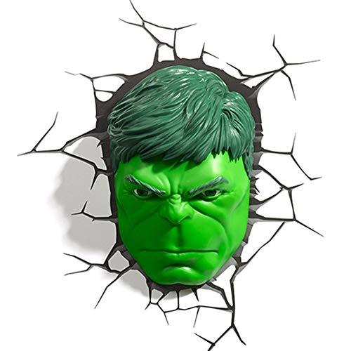 FF LIGHTS Luz De Pared 3D Avengers 4 Marvel Hulk Máscara