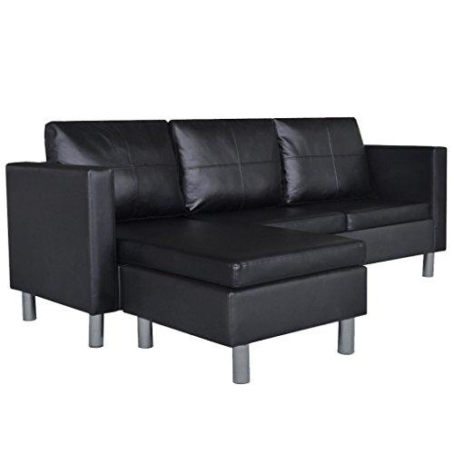Festnight set divano regolabile componibile a l in ecopelle/pelle artificiale bianco/nero da soggiorno