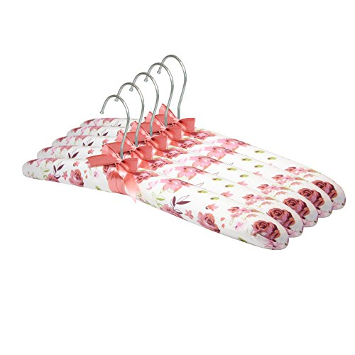 5er Set Blumen Kleiderbügel Stoff gepolstert mit Schleife für Wollwaren, etc. VERSCHIEDENE MUSTER Haken Kleider Bügel (Muster8) (Kleiderbügel Gepolsterte Dessous)