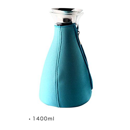 Stahl-flip-deckel (Nordeuropa Karaffen,Tropf-Frei Hohe temperaturbeständigkeit Glaskaraffe Silikon flip aus rostfreiem stahl-Oberer deckel Hausgebrauch Karaffe glas Glaskanne-F)