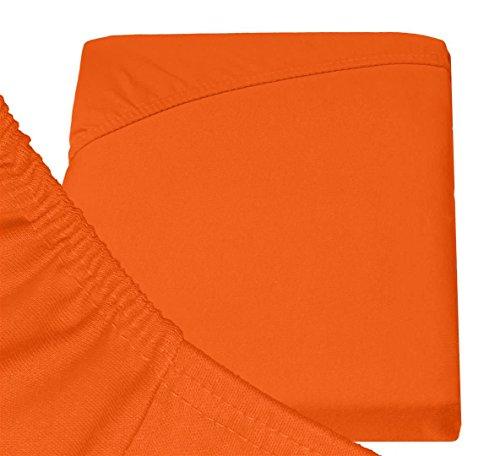 Double Jersey - Spannbettlaken 100% Baumwolle Jersey-Stretch bettlaken, Ultra Weich und Bügelfrei mit bis zu 30cm Stehghöhe, 160x200x30 Orange - 6