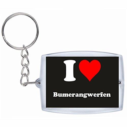 """Exklusive Geschenkidee: Schlüsselanhänger """"I Love Bumerangwerfen"""" in Schwarz, eine tolle Geschenkidee die von Herzen kommt - Rucksackanhänger- Weihnachts Geschenktipp"""