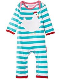 Toby Tiger Baby Girls Organic Chick Sleepsuit Striped Bodysuit