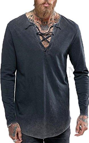 Men Fashion T-Shirt Hip Hop Muscle Lace Up Longline V Neck Super Hipster Curved Hem Tops