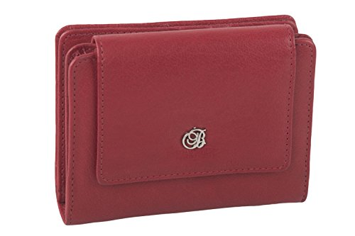 Portafoglio donna ANTONIO BASILE rosso in pelle modello compatto con zip A5169
