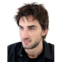 Peluca masculina, para hombre, corto, juvenil, color castaño, deportivo, estilo