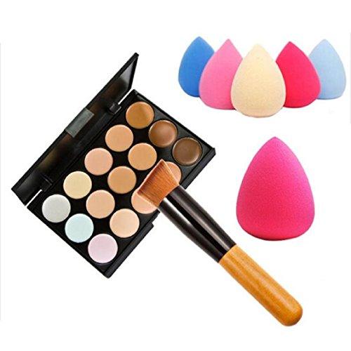 vovotrade 15 couleurs Palette maquillage Concealer forme + Eau éponge Puff + pinceaux de maquillage