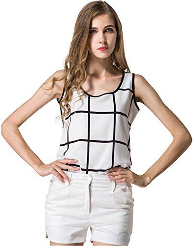 szivyshi Senza Maniche Plaid Tartan Percalle Check Quadri Quadretti Chiffon Blouse Blusa Camicetta Shirt Camicia Tank Vest Superiore Top bianco nero