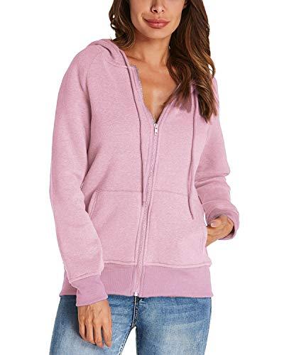 Kidsform Damen Hoodie Langarm Pullover Kapuzenpulli Outwear Kapuzenjacke Sweatshirt Jacken Rosa EU 38/Etikettgröße M