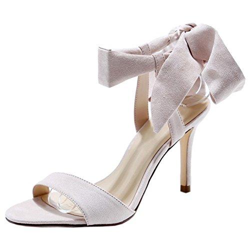COOLCEPT Damen Mode-Event Schnueren Sandalen Stiletto Slingback Open Toe  Schuhe Apricot