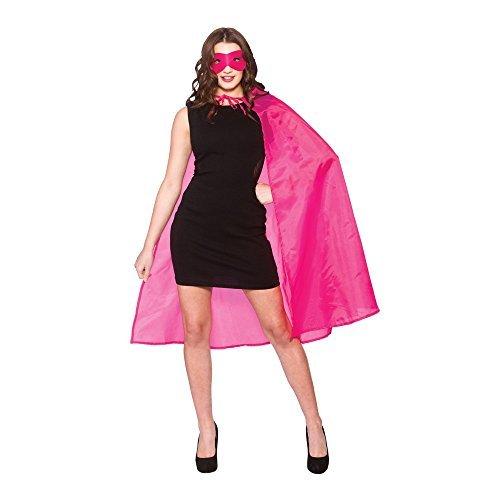 Batgirl Kostüm Rosa - Ladies Adult Short Superhero Cape & Augenmaske Kostüm Hen Stag Par