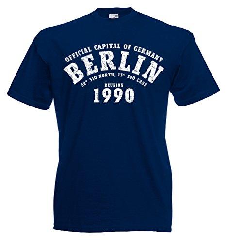 T-Shirt Berlin 1990 Capital of Germany Reunion Blau