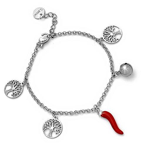 Beloved ❤️ Bracciale da donna con cornetto rosso portafortuna campanellino e charm tema acciaio inossidabile misura regolabile