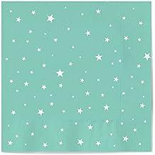 Servilletas de papel decoradas con diseño Estrella color Aguamarina - Ideal para fiestas infantiles, baby