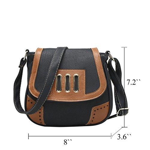 Honeymall Damen Vintage Umhängetasche Klein Handtasche PU Leder für Party Nachtclub Schultertasche Farbe Kleine Tasche Schwarz Schwarz