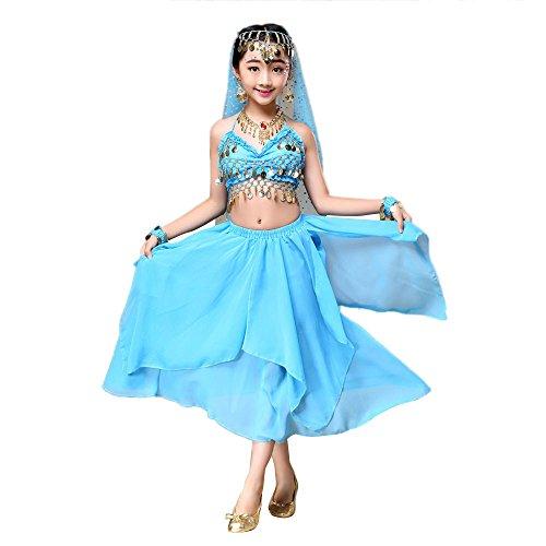 Lazzboy Rock Kindermädchen Bauchtanz Outfit Kostüm Indien Tanzkleidung Top + Rock(XS,Blau) (Rock The Kostüm Wwe)