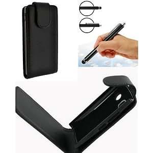 LG T 385 WiFi - ACCESS-DISCOUNT® **** Etui à rabat Housse LG T385 Coque de protection cuir simili + 3 x FILM protection ecran LCD transparent + stylet capacitif pour ecran tactile wi-fi LG t385b Couleur noir INCLUS ! ***** QUALITé LUXE VERITABLE *****
