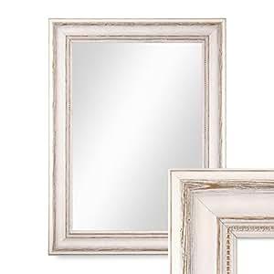 Photolini specchio da parete in legno cornice di campagna for Specchio da parete bianco