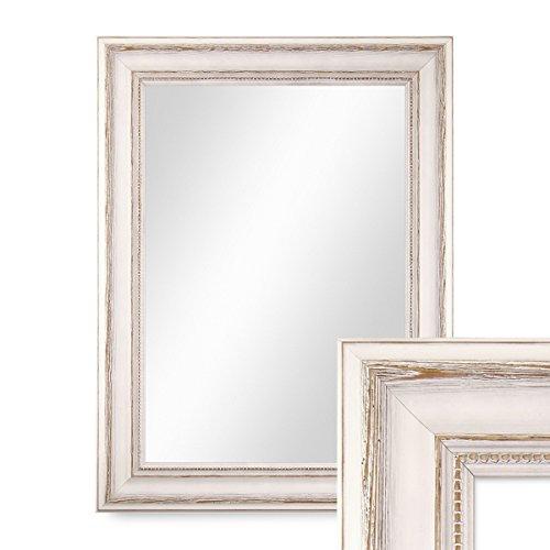 PHOTOLINI Wand-Spiegel 40x50 cm im Massivholz-Rahmen Landhaus-Stil Weiss/Spiegelfläche 30x40 cm