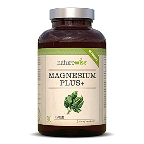 Magnesium Citrate Plus 700mg, 200 Vegetarian Capsules by NatureWise (6.5 Months Supply) Supports Muscles and Energy Production, 100% Money Back