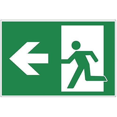 """Schild """"Notausgang"""" links - Exit aus Alu / Dibond 200x140 mm - 3 mm stark"""