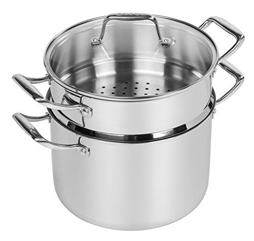 Maker Homeware Kochgeschirr-Set, Edelstahl, Grau, 10-teilig Suppentopf mit Deckel und Dampfeinsatz 8 quart grau
