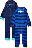 Amazon Essentials Baby-Jungen 2-Pack Microfleece Hooded Coverall