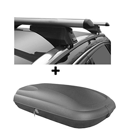 Dachbox Carbon Optik VDP CA320 günstiger Auto Dachkoffer 320 Liter abschließbar + Alu-Relingträger Dachgepäckträger für aufliegende Reling im Set für VW Passat B8 Variant ab 14