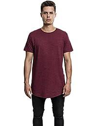 Urban Classics TB1767 Herren T-Shirt Shaped Melange Long Tee - Kurzarm Longshirt für Männer mit Rundhals-Ausschnitt und Abgerundetem Saum, Einfarbig