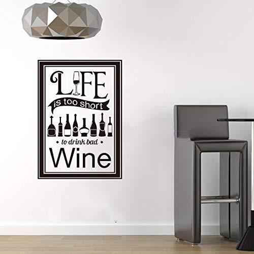Aufkleber Das Leben ist zu kurz, Wein trinken Vinyl Wandaufkleber Aufkleber Kunst Tapete Küche Bar Dekoration Haus Dekoration Lila 40x60 cm