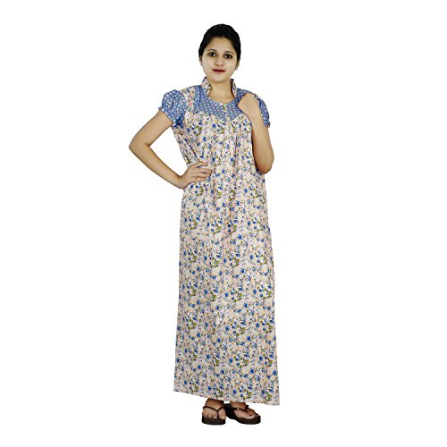 Blue and Beige colour Floral design High Collar neck cotton nighty for...
