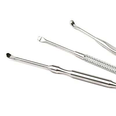 H&S 3 Ear Wax Pick Remover, Ear Wax Removal Cleaner Picker Tool Kit, Ear Pick Set with Storage Case Stainless Steel