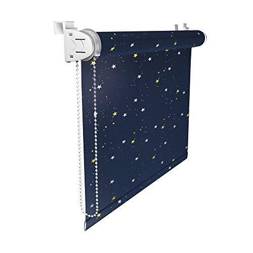 Victoria M Klemmfix Rollo ohne Bohren, lichtundurchlässig, 50 x 150cm, Sterne Design