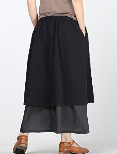 MatchLife Femme Jupe Boheme Casual En Coton Lin Taille Elastique Avec Corde de Serrage Noir-Gris