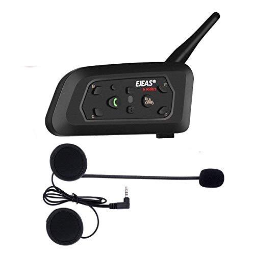 V6 Pro 1200m Intercom Moto Bluetooth,Casques Kit Moto Main Libre Ecouteur Bluetooth/Oreillette Anti Bruit Casque Communication Système Microphones,Connecter Jusqu'à 6 Riders,pour Moto,Vélo(1 Pack)