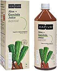 Kapiva 100% Organic Aloe Vera (USDA) + Garcinia Juice Aids Weight Loss - No Added Sugar, 1 L