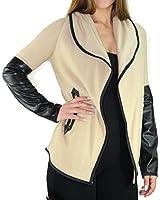 #2188 Damen Designer Jacke Bolero Jäckchen Cardigan Strickjacke breiter Kragen 36 38 40 42 S M L