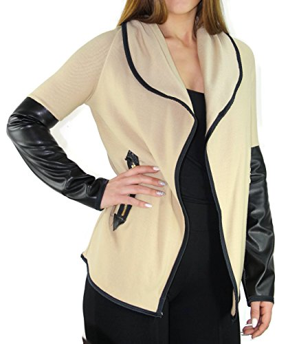 #2188 Damen Designer Jacke Bolero Jäckchen Cardigan Strickjacke breiter Kragen 36 38 40 42 S M L (Beige)