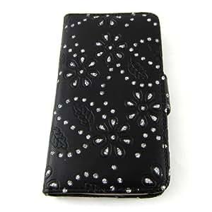 Handytasche Business Case Cover Samsung i9500 Galaxy S4 Smartphone Etui Flip Glitzer shiny chic Fashion Blink Strass schwarz Blumen Blumenmuster