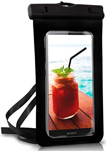 ONEFLOW® wasserdichte Handy-Hülle für alle Sony Xperia | Touch- und Kamera-Fenster + Armband & Schlaufe zum Umhängen, Schwarz (Ocean-Black)