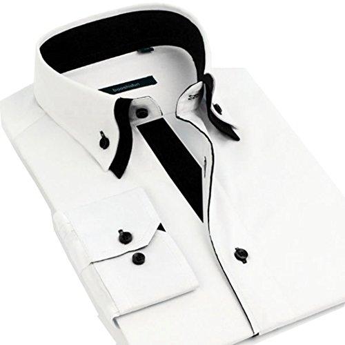 Lyon Becker® Chemises pour hommes coupe Slim Fit design italien, habillées et décontractées, manches longues, Tailles S M L XL White-Black DC01