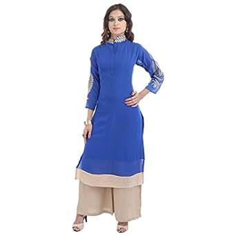 Beautiful blue color Kurti With Plazo set