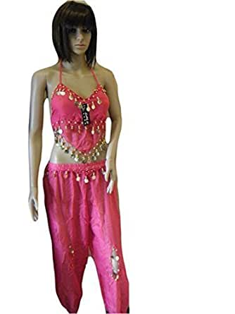 Pink Net/Chiffon Belly Dancing Arabian Trouser & Top with Coin detailing one size fits 8-12 By Fat-catz
