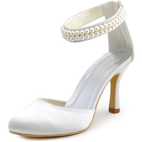 Elegantpark AJ3065 Ivory Satin Stiletto Runde Geschlossene Zehen Perlen Ketten