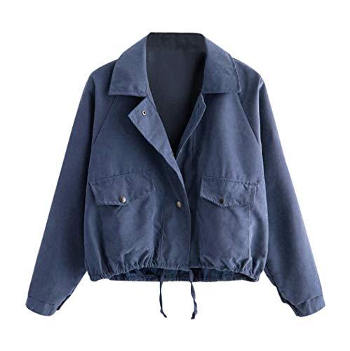 Jacke Damen Kolylong Frauen Elegant Reißverschluss Jacke Kurz Herbst Vintage Knöpfe Strickjacke...