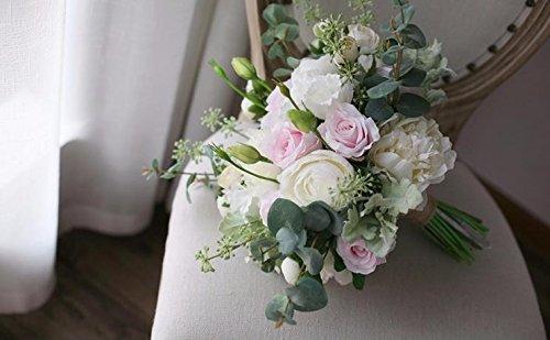 ZTTLOL Sommer Hochzeit Brautstrauß Tischdekoration Künstliche Blumen Weiß Rosa Rose Elfenbein Pfingstrose Bouquet, Weiß