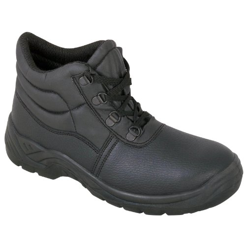 Black Safety Chukka Work Boots with Steel Toe Cap and Midsole Protection...