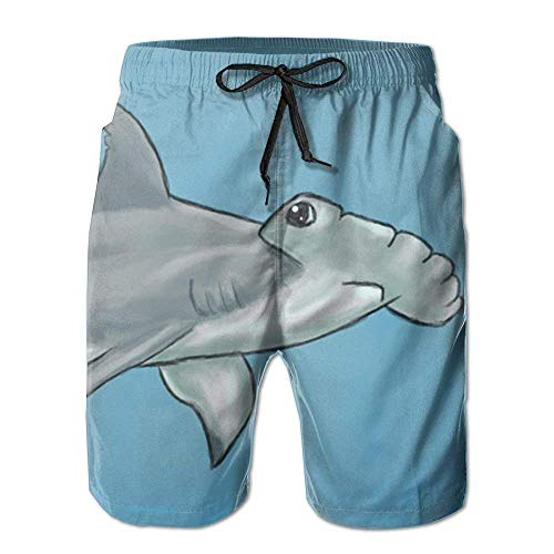 WITHY Beach Yoga Pants, Cute Hammerhead Shark Swimming Beach Board Shorts for Men Boys, Outdoor Short Pants Beach Accessories,(XXL)