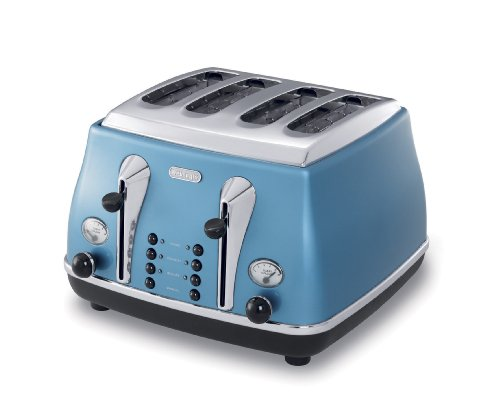 De'Longhi Icona CTO4003.B 4-Slice Toaster, Azure Blue